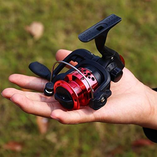 HEQIE-YONGP Carretes de Pesca 1.25m / 1.6m caña de Pescar Hielo y Cara Cerrada Carrete de Pesca de Hilado Combo Pesca Conjunto de Barras telescópicas para niños Carrete Giratorio (Color : Red Reel)