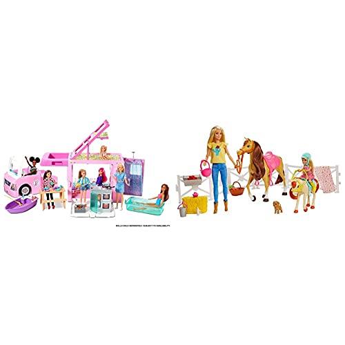 Barbie Caravana para Acampar 3 En 1 De con Piscina, Camioneta, Barca Y 50 Accesorios + Muñecas Y Chelsea con Caballos Y Accesorios, Regalo para Niñas Y Niños 3-9 Años, Embalaje Sostenible