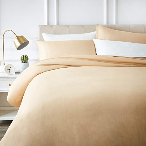 AmazonBasics Polycotton Duvet Cover Set, 200x200cm (Double)/50x80cmx2 - Sand