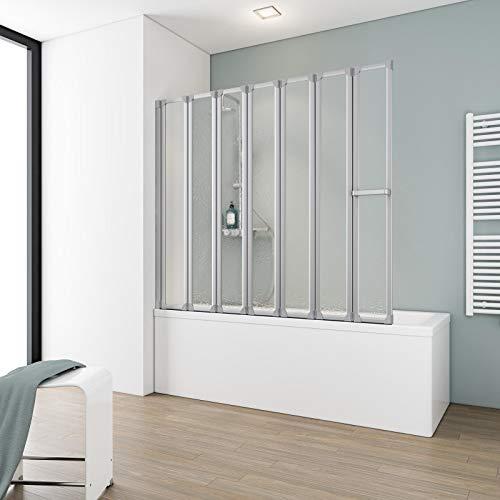 Schulte Duschabtrennung faltbar für Badewanne, 159 x 140 cm, einfacher Aufbau, Kunstglas Softline hell, Alu-Natur, Made in Germany, D1317 01 01