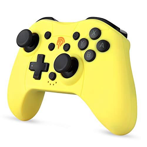 Mini Controller für Nintendo Switch / Switch Lite, Wireless Bluetooth Controller mit Bewegungssteuerung, Dual Vibration, Turbo Funktion, Wiederaufladbarer Akku, Gelb