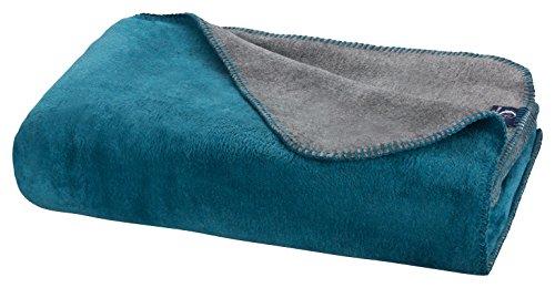 Moon Luxus Doubleface Kuscheldecke Wolldecke 220x240-petrol/anthrazit
