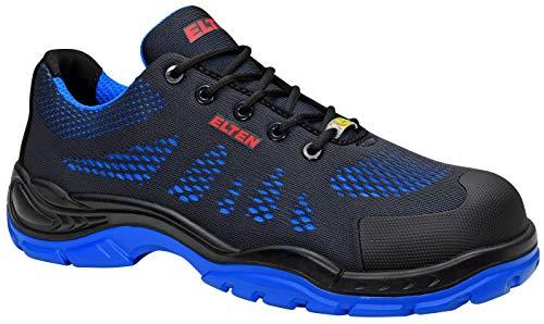 ELTEN Sicherheitsschuhe FINN blue Low ESD S1, Herren, sportlich, leicht, schwarz/blau, Kunststoffkappe - Größe 41