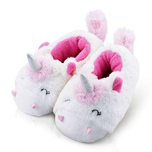 Kid/Girl's Animals House Slippers Fleece Non-Skid Cozy Soft Unicorn Slippers Cute 8-9 US Unicorn