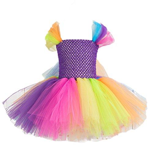 FENICAL Falda Tutú de Arco Iris Disfraz de Princesa para Fiesta para Niñas 6-7Y Púrpura