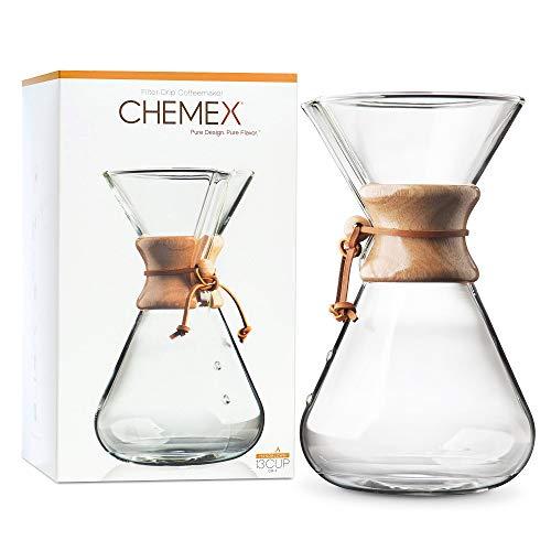 Chemex Hand Blown CM-4   Cafetera de Filtro Manual de 13 Tazas   Vidrio soplado a Mano   Capacidad 1.9L