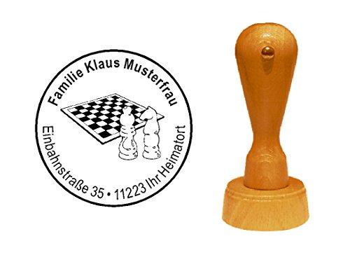 Stempel Holzstempel Motivstempel « SCHACHBRETT mit SPRINGER und LÄUFER » mit persönlicher Adresse - Schach Figuren schachmatt