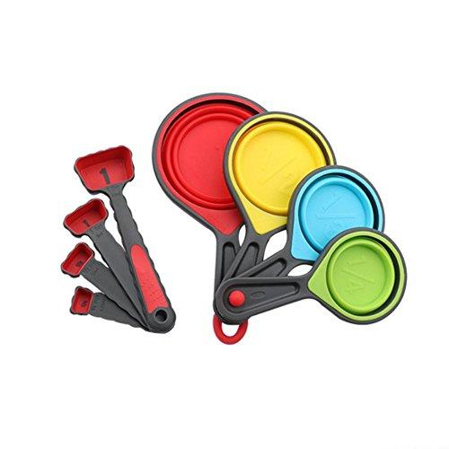 Luminiu - Juego de cucharas medidoras Plegables de Silicona, Juego de 8 Utensilios de Cocina, Ajuste y Escala