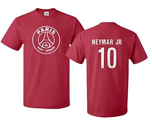 Spark Apparel New Paris Soccer Shirt #10 Neymar Jr. Boys Girls Youth T-Shirt (Red, Youth Large)