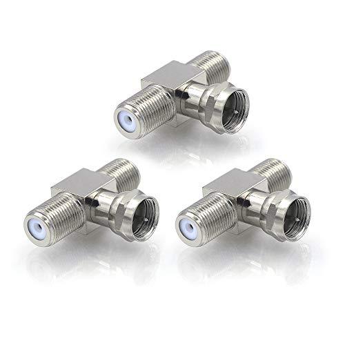 VCE 3 Pack F Type RG6 Mannelijke naar 2 Vrouwelijke 3 Way Coax Kabel Splitter Adapter Connector