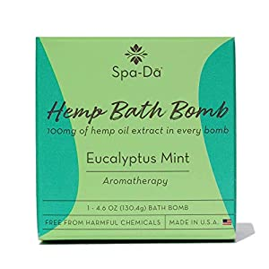 Spa-Da Hemp Bath Bomb (XL 4.6 oz) enriched with CBS 100mg Hemp Oil, Epsom Salt to Ease Pain, Energizing Eucalyptus Mint, Soothing Coconut Oil, Perfect for Women & Athletes Made in The USA