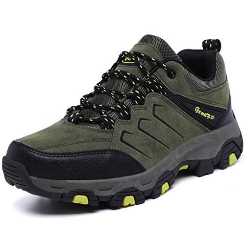 Zpyh Men Hiking Walking Trail Boots Leather Waterproof Ankle High Rise Shoe Hiking Boots as The Best Gift for Christmas for Autumn and Winter (Color : Army Green, Size : 7.5UK)