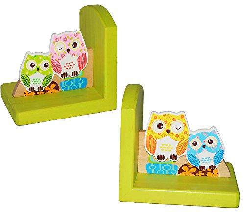 alles-meine.de GmbH 2 TLG. Set - Buchstützen aus Holz -  lustige Eulen  - Bücherstützen - für Kinder & Erwachsene - Buchstütze Holzbuchstütze - Eule - Vögel - Kinderzimmer / Sc..