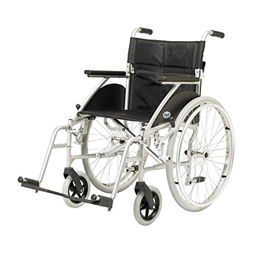 Days Swift Self Propelled Wheelchair, 41cm, Silver, Lightweight Mobility Device for Elderly, Handicapped, and Disabled Users, Portable Wheelchair for Independence or Caretaker Convenience