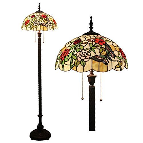 HH Stehlampe im Tiffany-Stil 64 Zoll hohe Glasmalerei Vogel- und Rosenschirm Kristallperle 2 Licht Antike Basis für Schlafzimmer Wohnzimmer Leseleuchte, E27