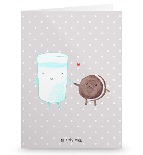 Mr. & Mrs. Panda Klappkarte, Einladungskarte, Grußkarte Milch & Keks - Farbe Grau Pastell