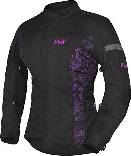 HWK Women's Motorcycle Jacket For Women Rain Waterproof Moto Riding Ladies Motorbike Jackets CE Armored (Black/Pink, XX-Large)