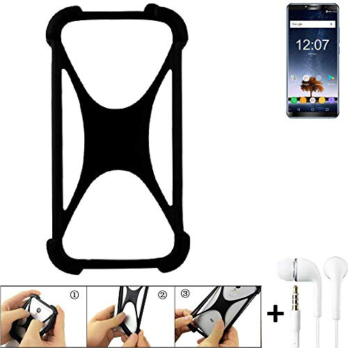 K-S-Trade Handyhülle für Oukitel K6 Schutzhülle Bumper Silikon Schutz Hülle Cover Case Silikoncase Silikonbumper TPU Softcase Smartphone, schwarz (1x), Headphones