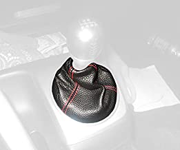 RedlineGoods Shift Boot Compatible with Honda Civic 2006-11. Black Leather-Red Thread