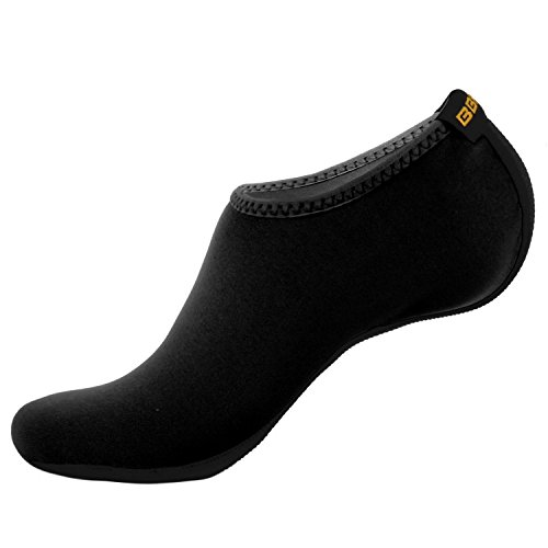 Ohoo Womens Barefoot Water Skin Shoes Black Neoprene Low Cut/IAS001-BLACK-L