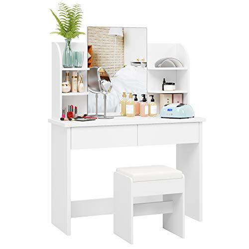 Homfa Tocador con Espejo Mesa de Maquillaje Tocador de Dormitorio con Taburete 2 Cajones 4 Estantes Blanco 107x40x142cm