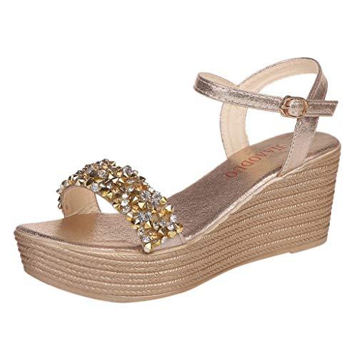 Sandalias Mujer Verano 2019 cuña Bohemias Casuales Zapatillas Hebilla Romanas Rhinestone Playa Gladiador Verano Tacon Planas Zapatos Cómodos riou (Ropa)