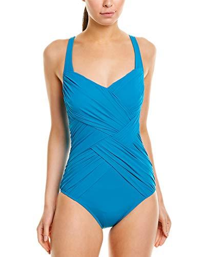 Gottex Women's Draped Panel Surplice V-Neck One Piece Swimsuit, Lattice Peacock, 16