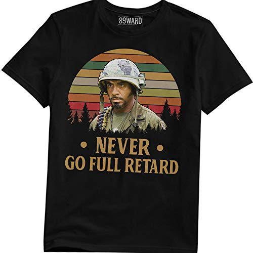 Never Go Full Retard Vintage Retro T Shirt Tropic Thunder Movie T-Shirt (Black;2XL)