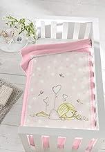 PIELSA BABY - 6377-14 | Manta bebe | Manta bebe invierno | Manta bebe meses | Manta bebe estampada | Manta de cuna | Color Rosa | Tamaño 80x110