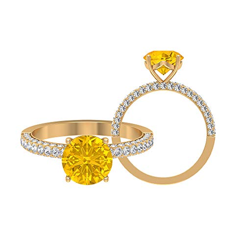 8 MM Lab Created Yellow Sapphire Ring, D-VSSI Moissanite Engagement Ring, Solitaire Ring With Side Stone, Gold Cluster Ring, 10K Yellow Gold, Size:UK O1/2