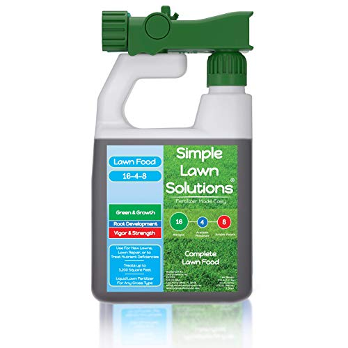 Best liquid lawn fertilizer concentrate - Advanced 16-4-8 Balanced NPK - Lawn Food Quality Liquid Fertilizer - Spring & Summer Concentrated Spray - Any Grass Type - Simple Lawn Solutions (32 Ounce)