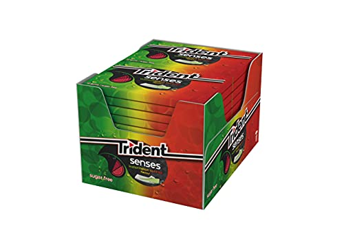 Trident Senses Watermelon - Chicles sin Azúcar con Sabor a Sandía - Paquete de 12 envases de 23 g