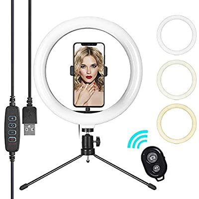 Selfie Ring Light with Tripod Stand & Cell Phone Holder, Eroboo 10.2'' LED Camera Ring Light for Live Stream/Youtute/TikTok/Photography, 3 Light Modes & 10 Brightness Levels by Eroboo