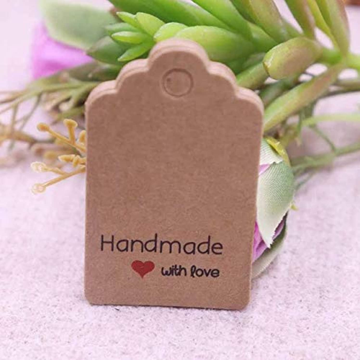 OBELLA BOUTIQUE DIY 100pcs 3x5cm love tag handmade new paper card present Kraft or white paper thank you gift tags hand made with love tag