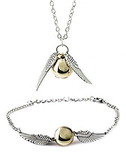 Harry Potter: Golden Snitch-Set Halskette/Armband mit Silber Flügel