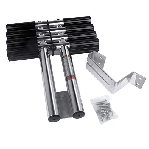 """Marinebaby 4 Steps Boat Marine Sport/Diver Ladder Heavy Duty Dual Vertical Telescoping Tube with 2.56"""" Transom Mounting Extension Shim & Mounting Screws Stainless Steel Boat Telescoping Ladder"""