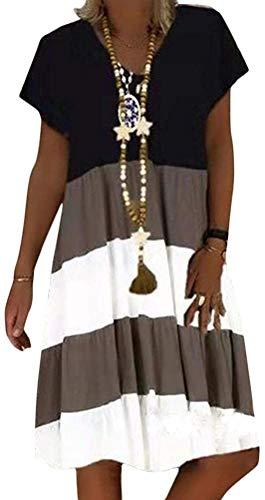 Sommerkleid Damen V-Ausschnitt Boho Strandkleider Kurzarm A-Linie Patchwork Kleid Freizeitkleid MidiKleid (A Kaffee, XL)