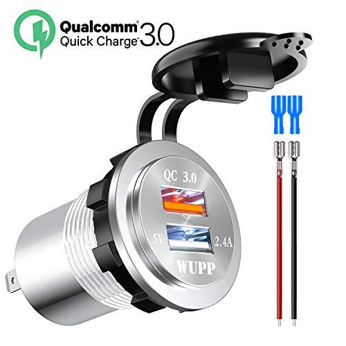 Kriogor 2.4A 12V Steckdose USB Adapter und 3,0 Quick Charge IP66 Wasserdicht KFZ Ladegerät für Auto Motorrad Boot SUV (Weiß)