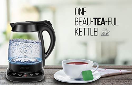 Chefman Programmable Electric Kettle Digital Display Removable Tea Infuser Included, Cool Touch Handle, 360° Swivel Base, BPA Free, 1.7 Liter/1.8 Quart, Black Stainless Steel