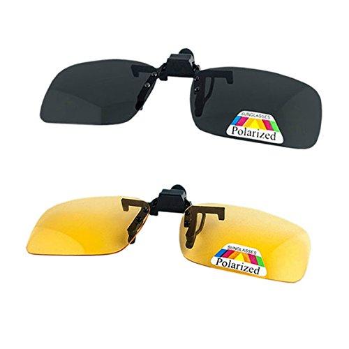 Sonnenbrille Clip auf Flip Up Nachtsicht Polarisierte Gläser Anti-Glare UV400 Schutz Fahren Angeln Schießen Jagd Skifahren Outdoor Sports Night Vision Eyewear Unisex für Männer Frauen 2 Paar