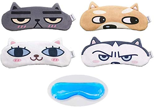 [4 Pack] MicroBird Cat&Dog Cute Sleep Eye Mask for Sleeping, Super Soft and Light for Blindfold Eyeshade for Men and Women Kids