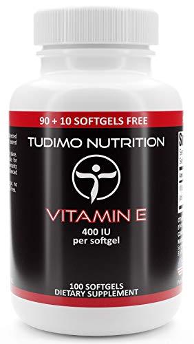 Vitamina E | 400 IU | 100 pzas (3+ Meses de provisión) de Cápsulas Softgel de Desintegración Rápida, cada una con 294mg de D-alpha Tocopheryl Acetate