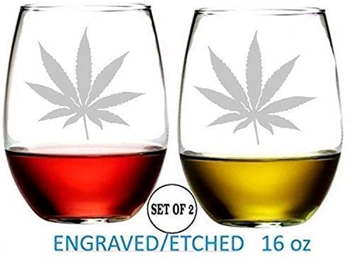 Marijuana Weed Cannabis Stemless Wine Glasses Etched Engraved Perfect Fun Handmade Gifts for Everyone Set of 2