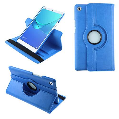 """COOVY® 2.0 Funda para Huawei MediaPad M5 8 (8.4"""") Smart 360º Grados ROTACIÓN Cover Case Protectora Soporte Auto Sueño/Estela   Azul Claro"""