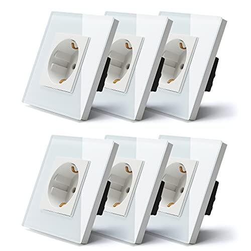 BSEED Schuko Steckdose, 1 Fach Unterputz-Steckdose, Kristall Glas Wandsteckdose weiß, 16A Schutzkontakt-Steckdose 86mm (6 Pack)