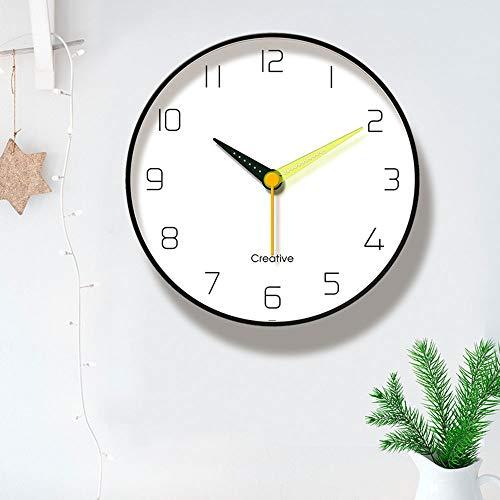W.Z.H.H.H Reloj de Pared Reloj de Pared Negro con Estilo de Metal Salón Dormitorio Comedor Puede ser colgado