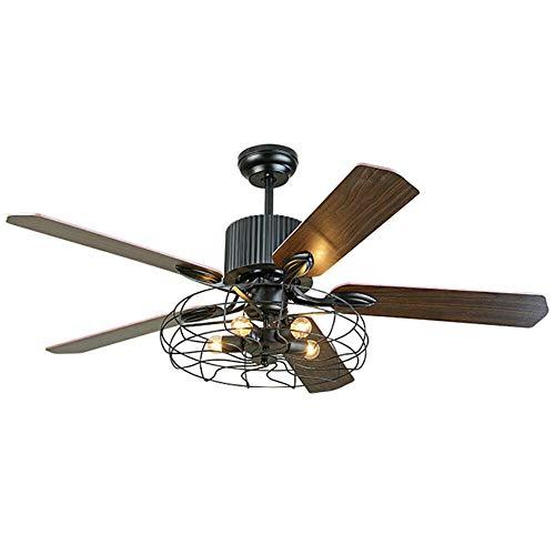 Ventilador de techo de 220 V, con luz + mando a distancia, industrial, semiflujo, vintage, retro, 5 luces, diseño moderno (sin bombilla)