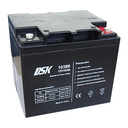 DSK 10380 - Bateria Plomo AGM Recargable y Sellada con 12V y 42Ah. Batería Ideal para Alarmas del Hogar e Industria, Juguetes Eléctricos para niños, Aparatos de Movilidad, Patinetes, Cercados