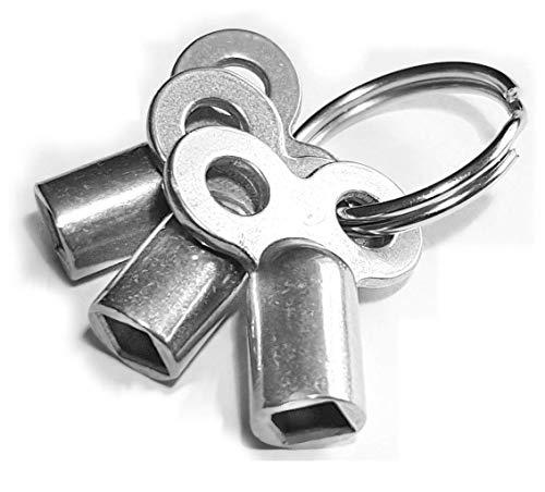 Preisvergleich Produktbild Fuchs - 3 robuste Entlüftungsschlüssel mit Ring im Set - sehr langlebig - mit Zinklegierung - Schlüssel für Heizkörper zum Entlüften - Lüften aller Heizungen möglich - radiator key