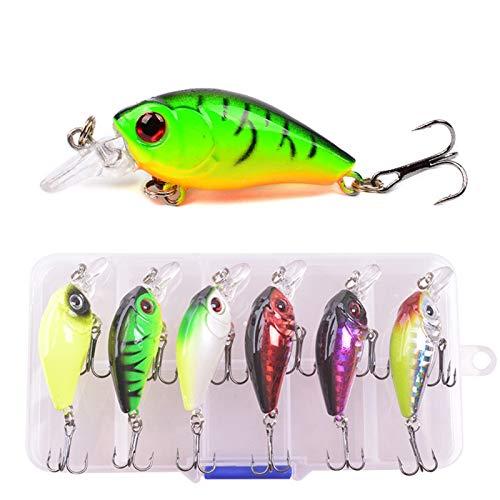 BMYONG 6 unids/Lote Colores Mixtos Pesca Conjunto de señuelos de Pesca Minnow Cebos Kit Wobbler Crankbaits con Cajas Treble Hooks Tackle Durno Cebo (Color : A)